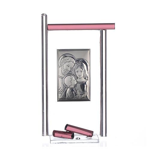 Bonbonnière Ste Famille arg. verre Murano violet 13x8 cm 1