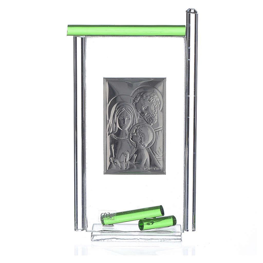 Bonbonnière Ste Famille arg. verre Murano vert 13x8 cm 3