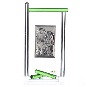 Bonbonnière Ste Famille arg. verre Murano vert 13x8 cm s3