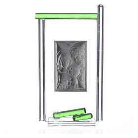 Bonbonnière Ste Famille arg. verre Murano vert 13x8 cm s2