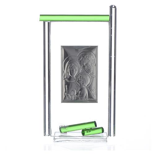 Bonbonnière Ste Famille arg. verre Murano vert 13x8 cm 4