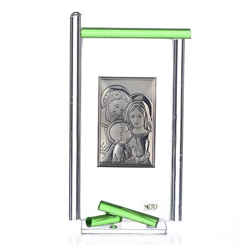Bonbonnière Ste Famille arg. verre Murano vert 13x8 cm 1