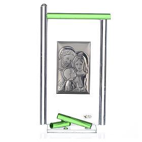 Pamiątka święta Rodzina srebro i szkło Murano zielone 13x8 cm s3