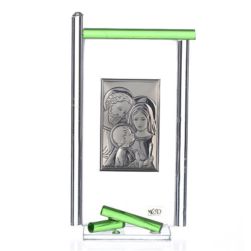 Pamiątka święta Rodzina srebro i szkło Murano zielone 13x8 cm 1