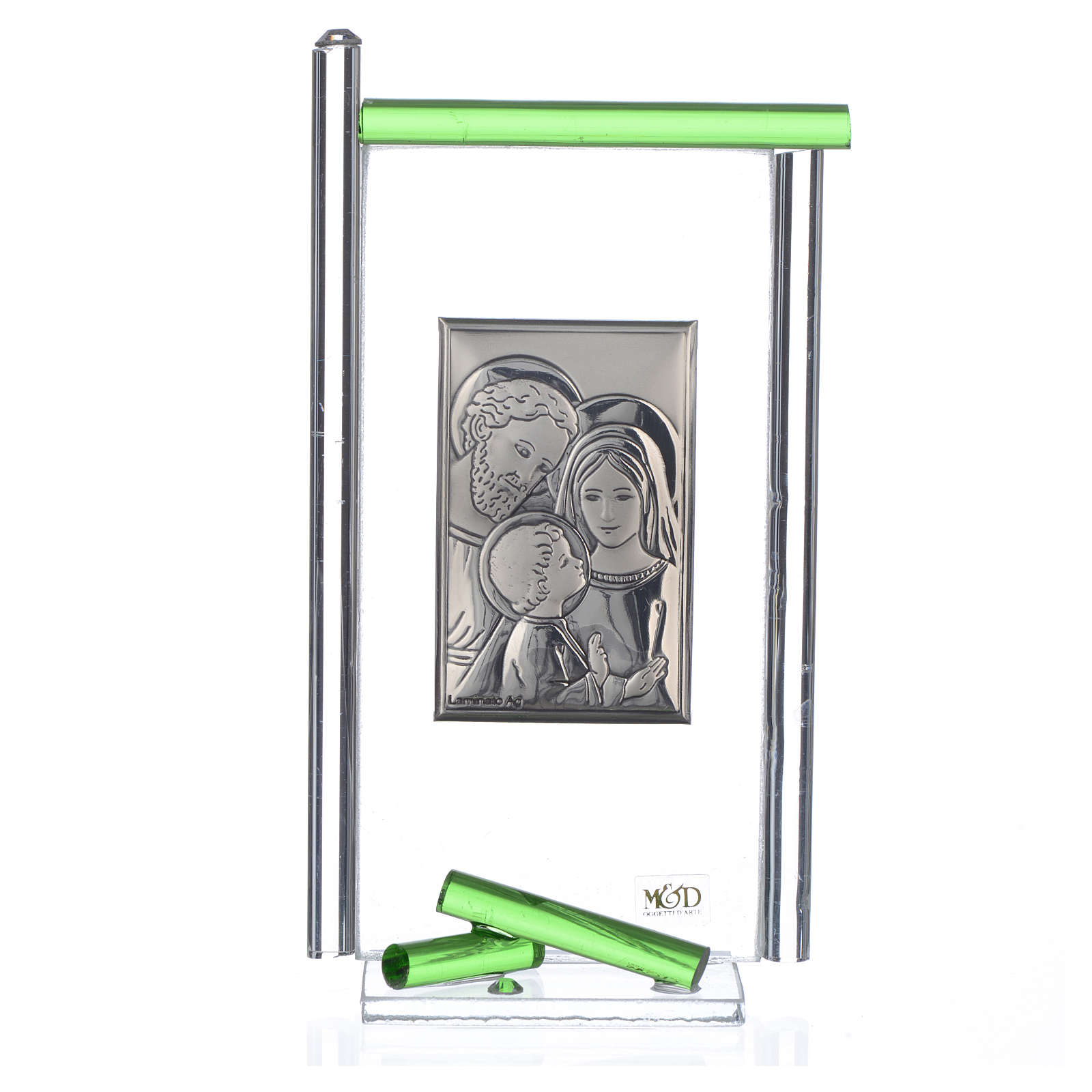 Painting Holy Family silver and Murano Glass, Green 13x8cm 3