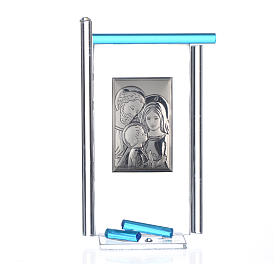 Painting Holy Family silver and Murano Glass, Aquamarine 13x8cm s3