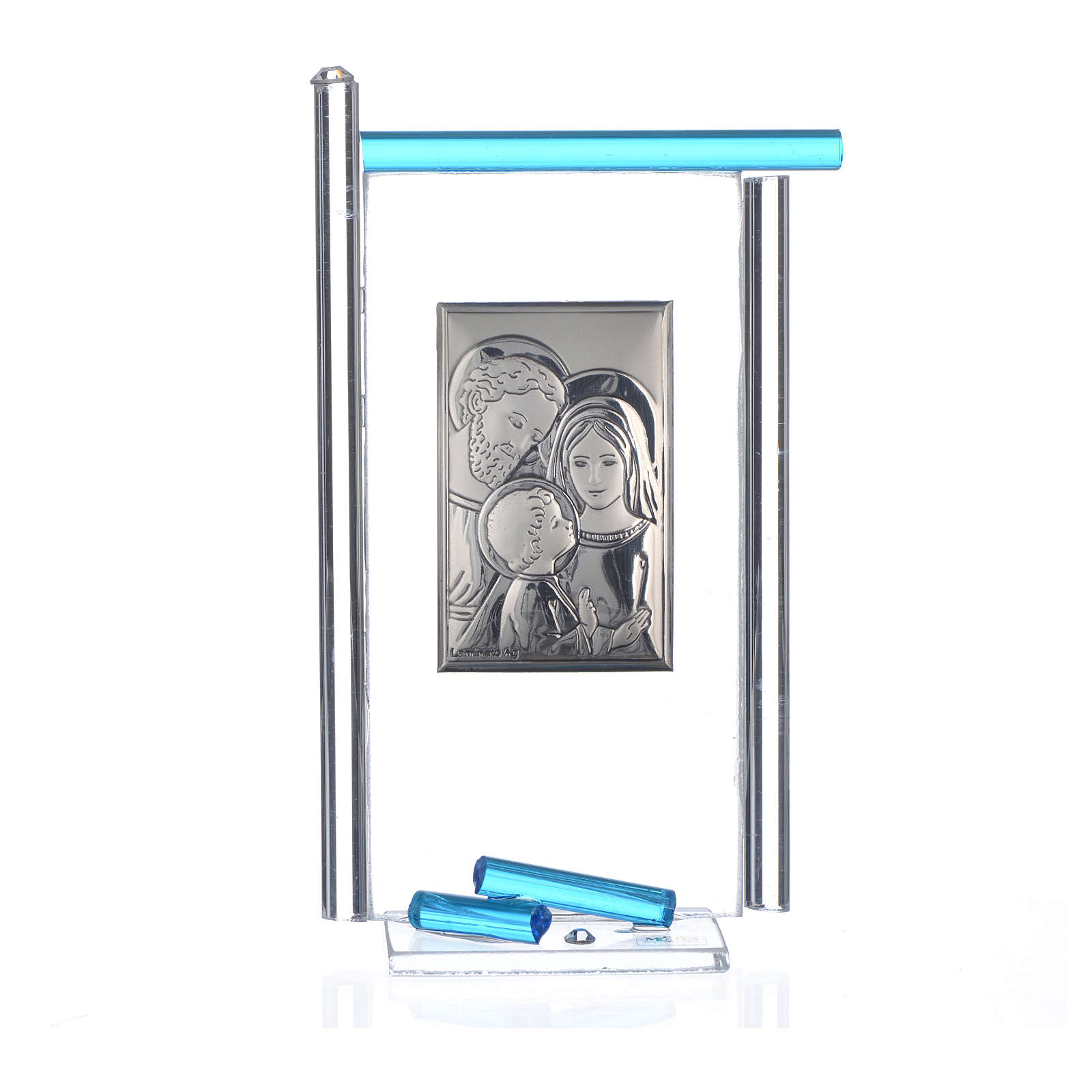 Regalo S.Familia plata Vidrio Murano Aguamarina 13x8cm 3