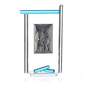 Regalo S.Familia plata Vidrio Murano Aguamarina 13x8cm s4