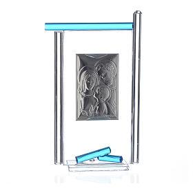 Regalo S.Familia plata Vidrio Murano Aguamarina 13x8cm s2