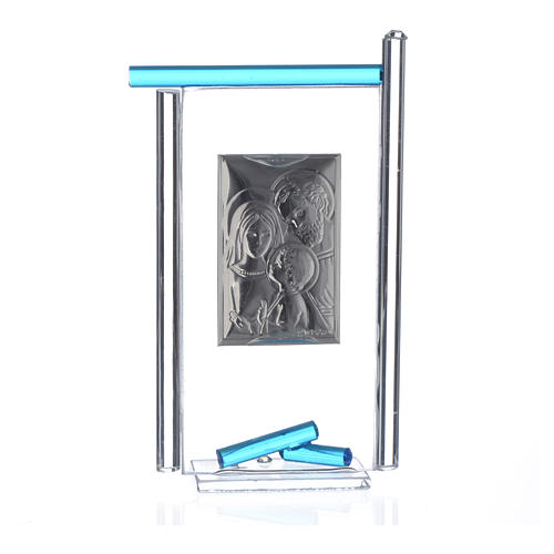 Regalo S.Familia plata Vidrio Murano Aguamarina 13x8cm 4
