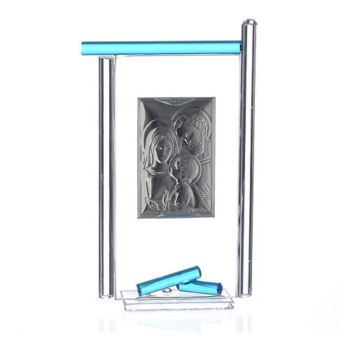 Regalo S.Familia plata Vidrio Murano Aguamarina 13x8cm 2