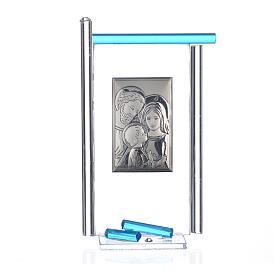 Bonbonnière Ste Famille arg. verre Murano aigue-marine 13x8 cm s3