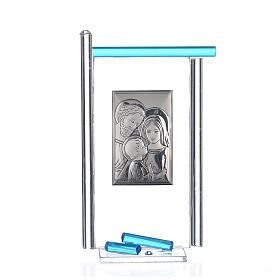 Lembrancinha S. Família prata vidro Murano água-marinha 13x8 cm s1