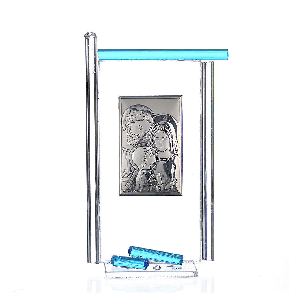 Painting Holy Family silver and Murano Glass, Aquamarine 13x8cm 3