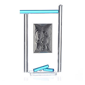 Painting Holy Family silver and Murano Glass, Aquamarine 13x8cm s2