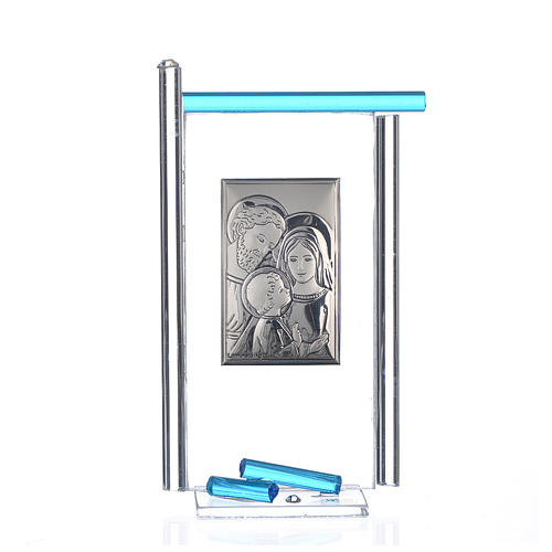 Painting Holy Family silver and Murano Glass, Aquamarine 13x8cm 1