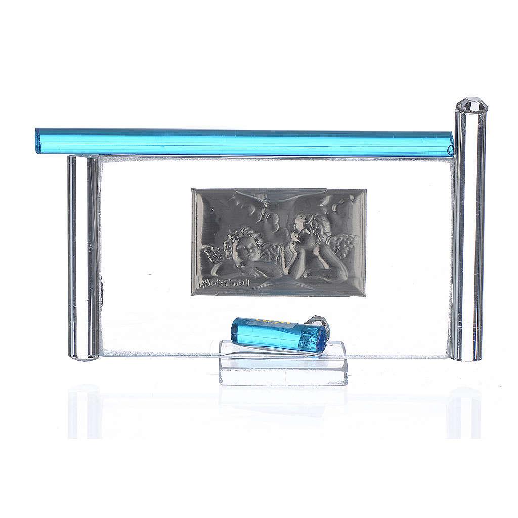 Cadre Anges arg. et verre Murano aigue-marine h 9 cm 3