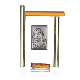 Painting Christ silver and Murano Glass, Amber 9cm s3