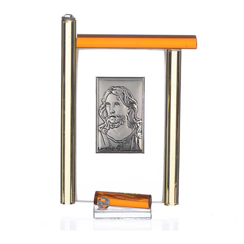 Painting Christ silver and Murano Glass, Amber 9cm 3