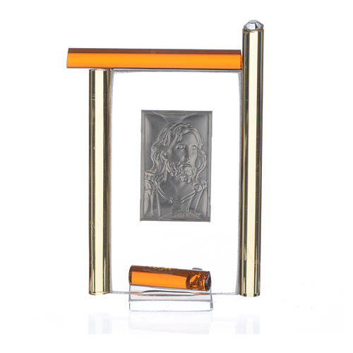 Painting Christ silver and Murano Glass, Amber 9cm 4