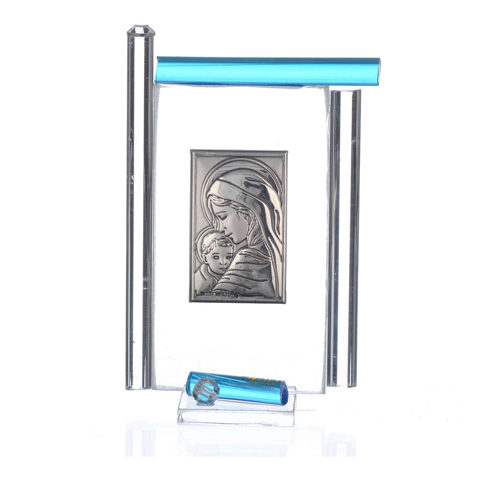 Cadre Maternité arg. et verre Murano aigue-marine h 9 cm 3