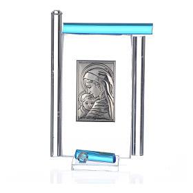 Cadre Maternité arg. et verre Murano aigue-marine h 9 cm s3
