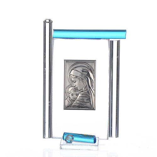 Cadre Maternité arg. et verre Murano aigue-marine h 9 cm 1