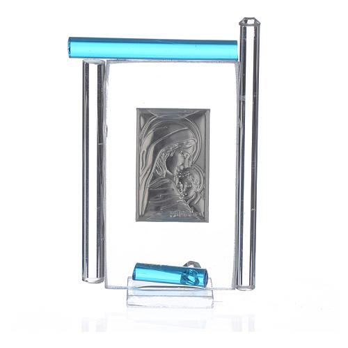 Cadre Maternité arg. et verre Murano aigue-marine h 9 cm 2