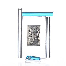 Quadro Maternità Arg. e vetro Murano Acquamarina h.9 s1