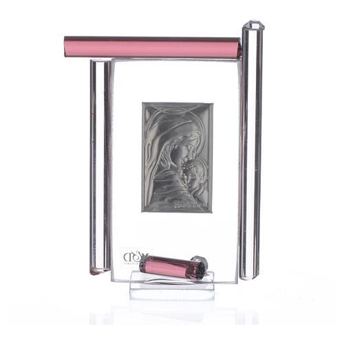 Cadre Maternité arg. et verre Murano  h 9 cm 4