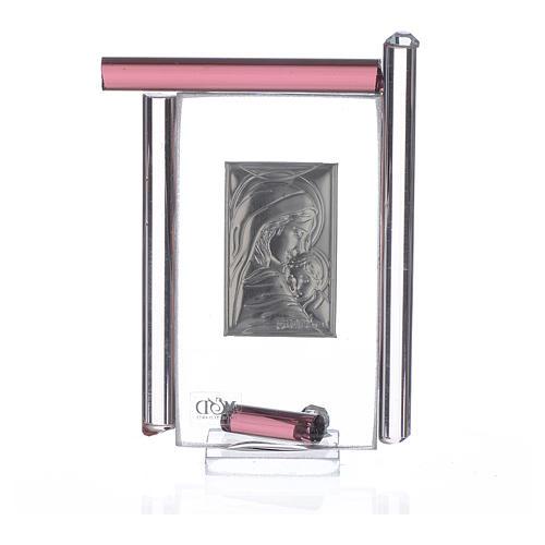Cadre Maternité arg. et verre Murano  h 9 cm 2