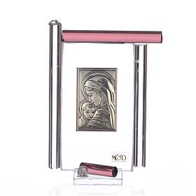 Quadro Maternità Arg. e vetro Murano Viola h.9 s1
