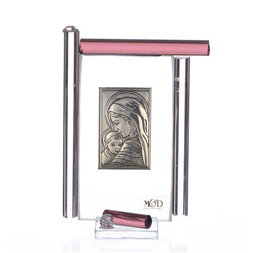 Quadro Maternità Arg. e vetro Murano Viola h.9 1