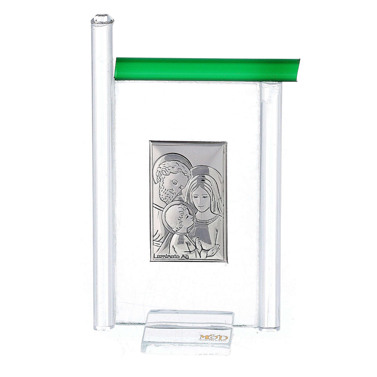 Cadre Ste Famille arg. et verre Murano vert h 9 cm 3