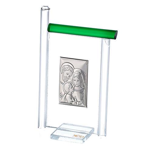 Cadre Ste Famille arg. et verre Murano vert h 9 cm 2
