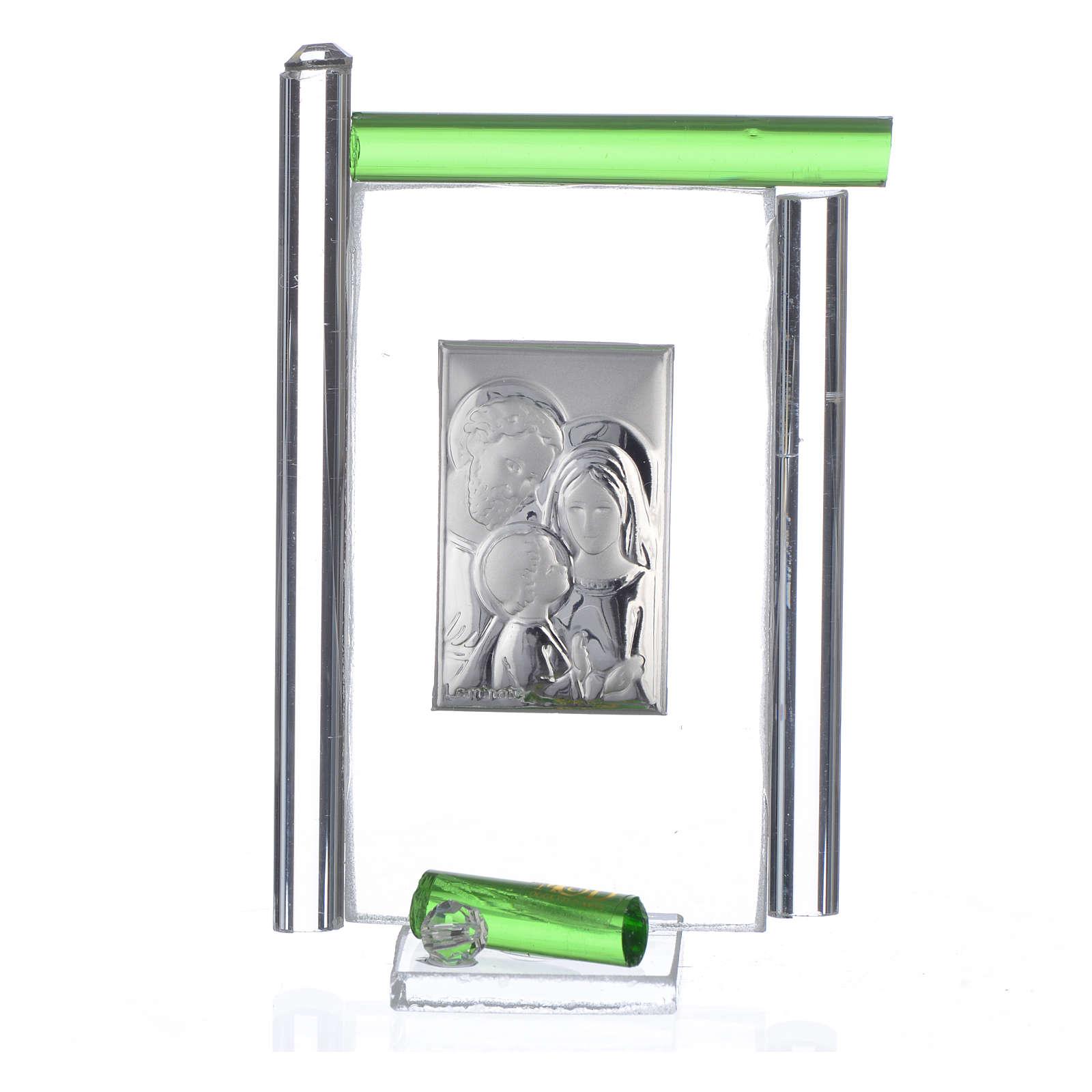 Quadro Matrimonio S. Famiglia Arg. vetro Murano Verde h.9 3