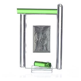 Obraz święta Rodzina srebro i szkło Murano zielone 9cm s4