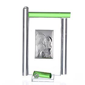 Obraz święta Rodzina srebro i szkło Murano zielone 9cm s1