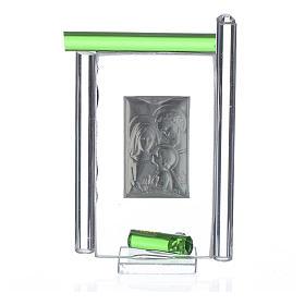 Obraz święta Rodzina srebro i szkło Murano zielone 9cm s2