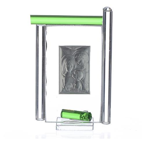 Obraz święta Rodzina srebro i szkło Murano zielone 9cm 2