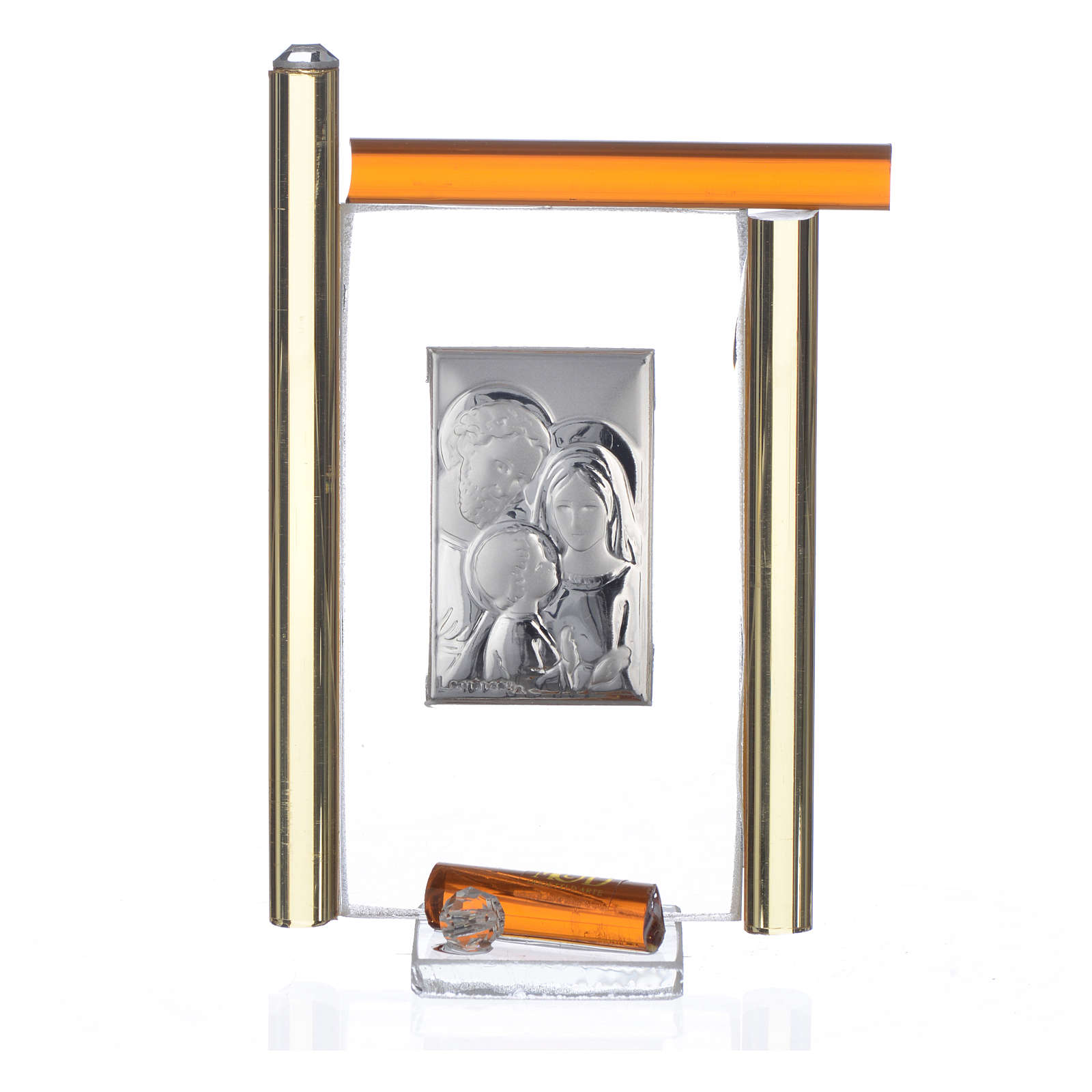 Cadre Ste Famille arg. et verre Murano ambre h 9 cm 3