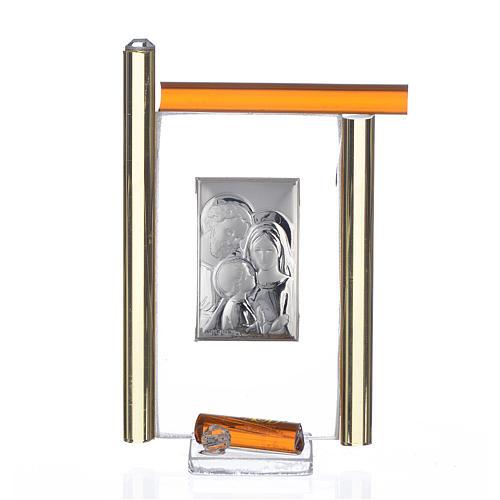 Cadre Ste Famille arg. et verre Murano ambre h 9 cm 1