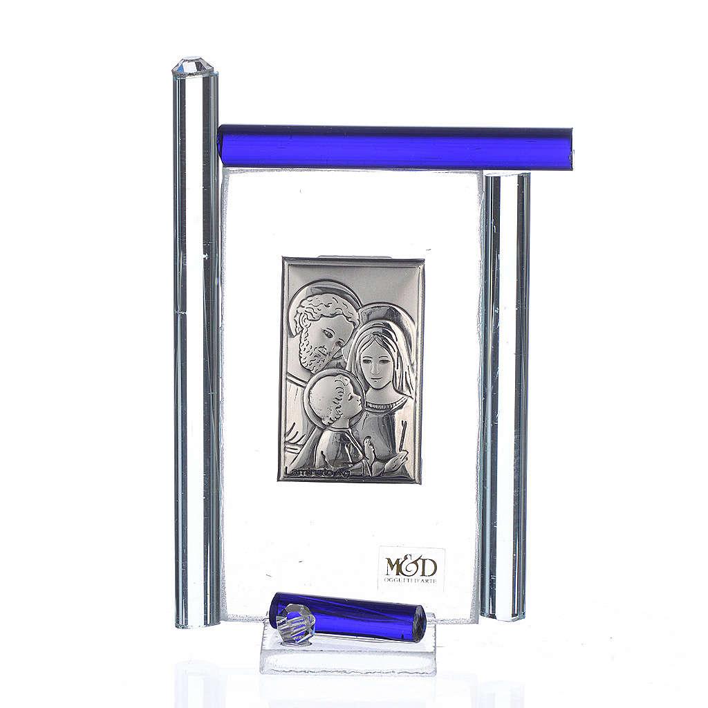 Cadre Ste Famille arg. et verre Murano bleu h 9 cm 3