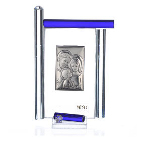 Cadre Ste Famille arg. et verre Murano bleu h 9 cm s3