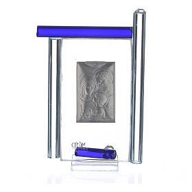 Cadre Ste Famille arg. et verre Murano bleu h 9 cm s2