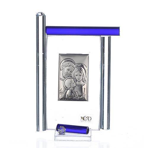 Cadre Ste Famille arg. et verre Murano bleu h 9 cm 1
