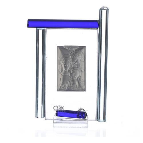 Cadre Ste Famille arg. et verre Murano bleu h 9 cm 2