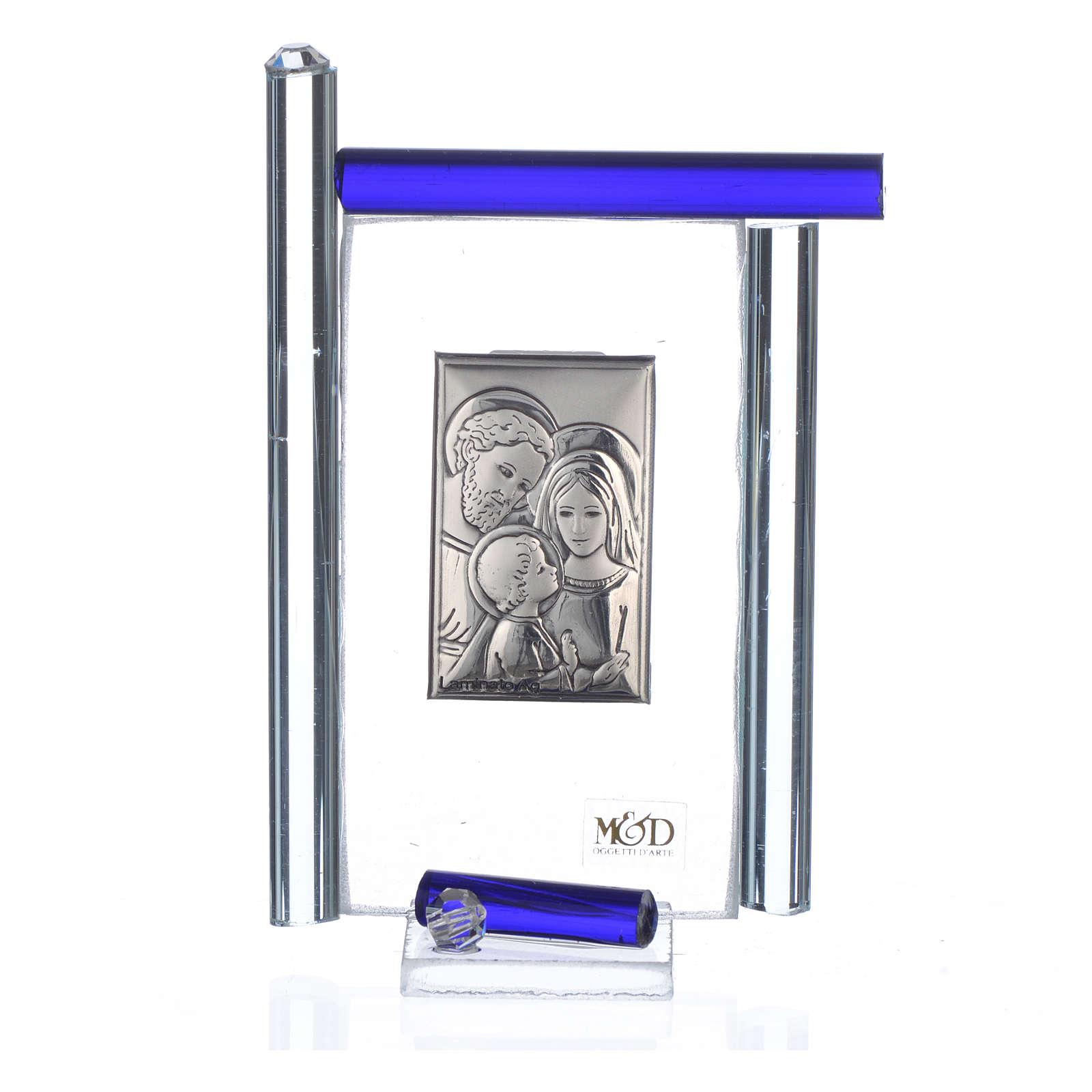 Quadro S. Famiglia Arg. e vetro Murano blu h.9 3