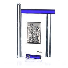 Quadro S. Famiglia Arg. e vetro Murano blu h.9 s3