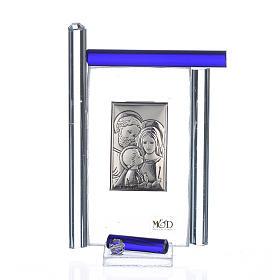 Quadro S. Famiglia Arg. e vetro Murano blu h.9 s1